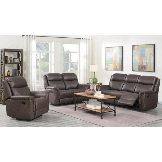 View Proxima 3 seater sofa and 2 armchairs suite in rustic brown