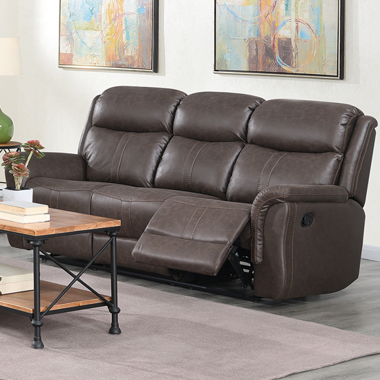 Proxima Fabric 3 Seater Sofa In Rustic Brown