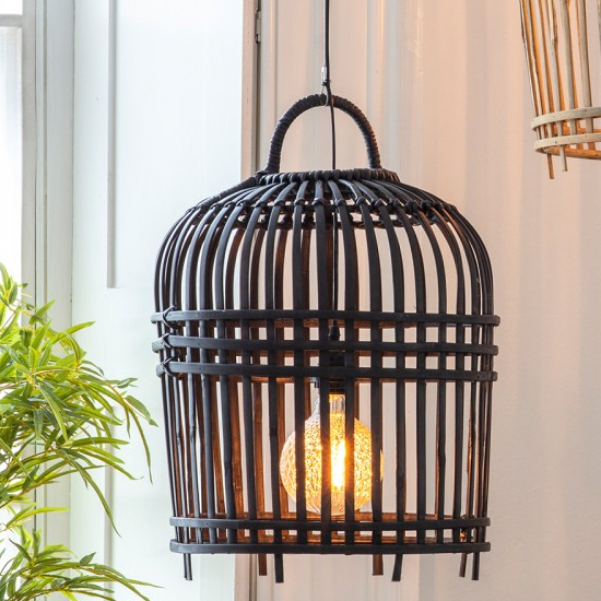 Pueblo Wall Light With Charcoal Wooden Cage