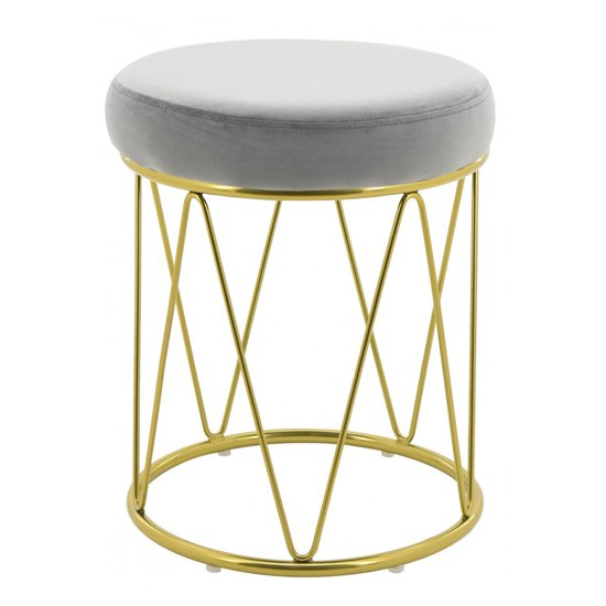 Puffy Velvet Stool In Grey With Gold Stainless Steel Base