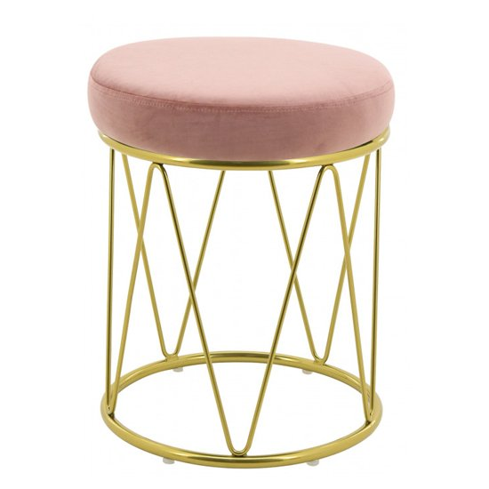 Puffy Velvet Stool In Pink With Gold Stainless Steel Base_1