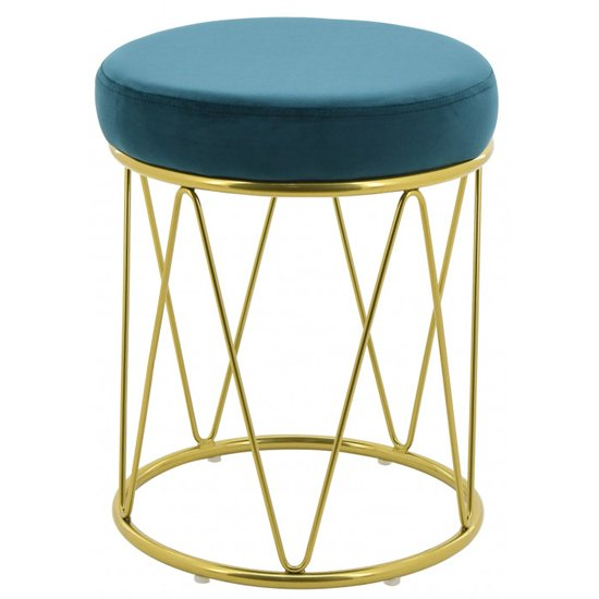Puffy Velvet Stool In Teal With Gold Stainless Steel Base_1