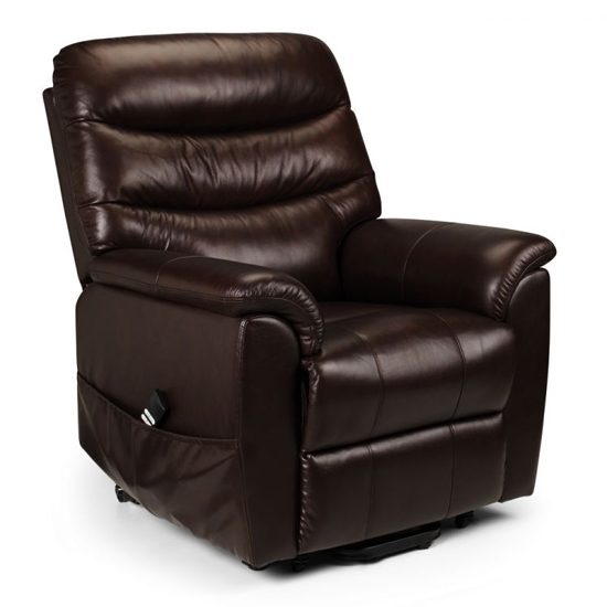 Pullman Dual Motor Leather Rise And Recline Chair In Brown