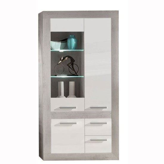 Parker Display Cabinet In Concrete And White Gloss With LED