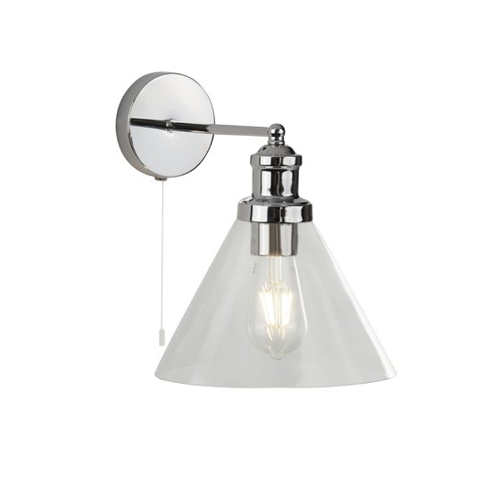 Pyramid Wall Light In Chrome With Clear Glass Shade