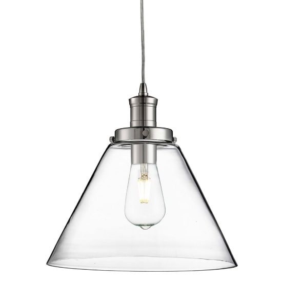Pyramid Pendant Light In Chrome With Clear Glass Shade