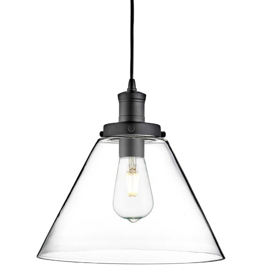 Pyramid Pendant Light In Matt Black And Clear Glass
