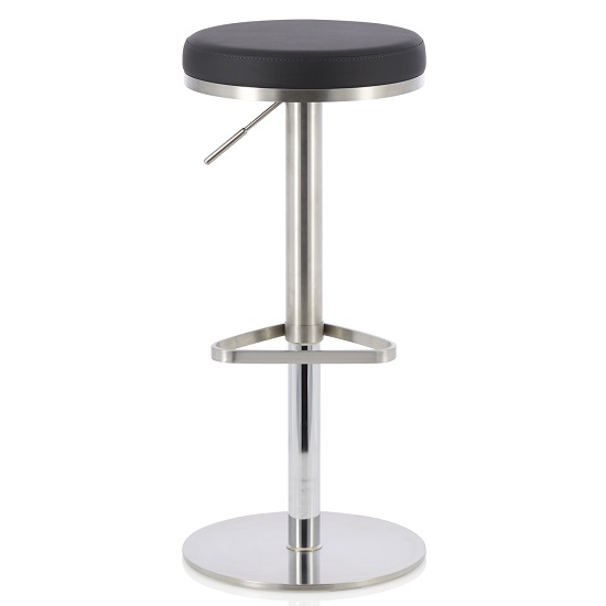 Quadro Bar Stool In Black Faux Leather And Stainless Steel Base