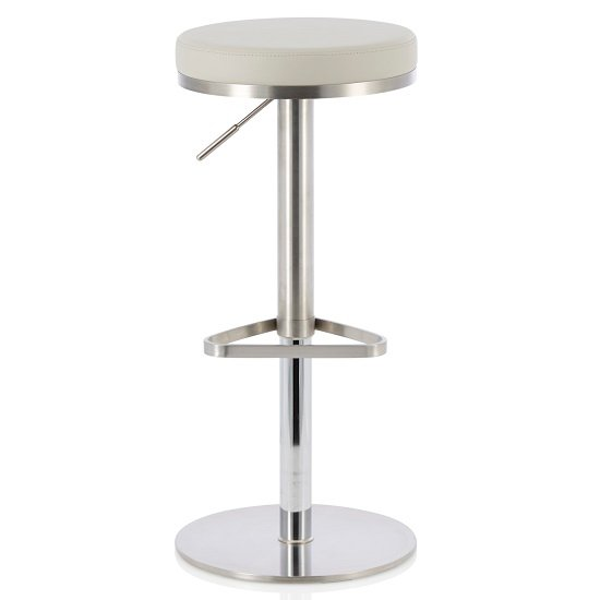 Quadro Bar Stool In Grey Faux Leather And Stainless Steel Base