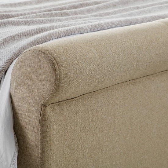 Quartz Fabric Double Bed In Sand Linen With Wooden Legs_3