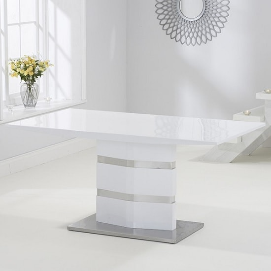 Quattro Dining Table In White High Gloss And Brushed Metal : quattrodiningtablewhite min from www.furnitureinfashion.net size 550 x 550 jpeg 25kB