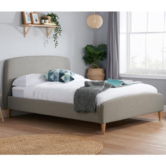 Quebec Fabric Small Double Bed In Grey