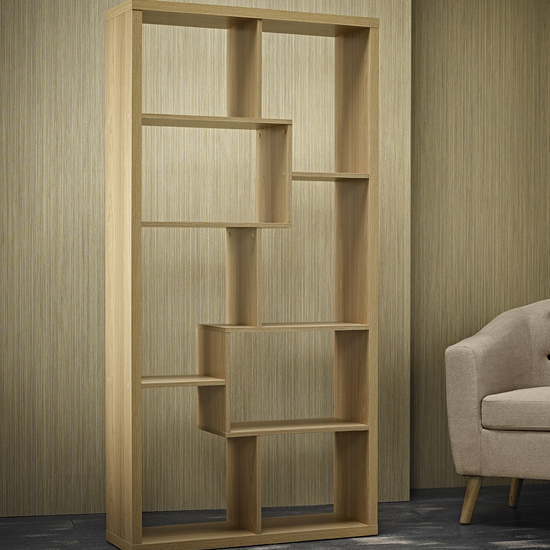 Quinto Solid Oak Finish Shelving Unit_2