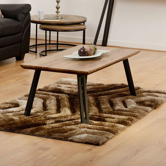 View Quebec wooden straight edge coffee table in medium oak effect