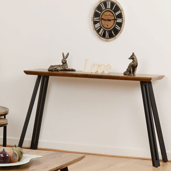 Quebec Wooden Straight Edge Console Table In Medium Oak Effect