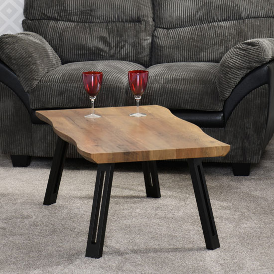 Quebec Wooden Wave Edge Coffee Table In Medium Oak Effect