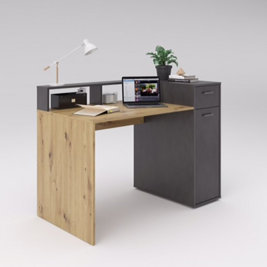 Quebec2 Wooden Computer Desk In Artisan Oak And Matera_1