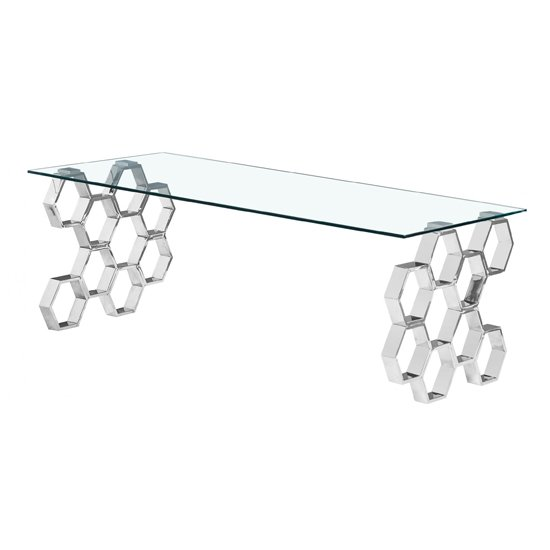 Quetta Clear Glass Coffee Table With Silver Metal Legs