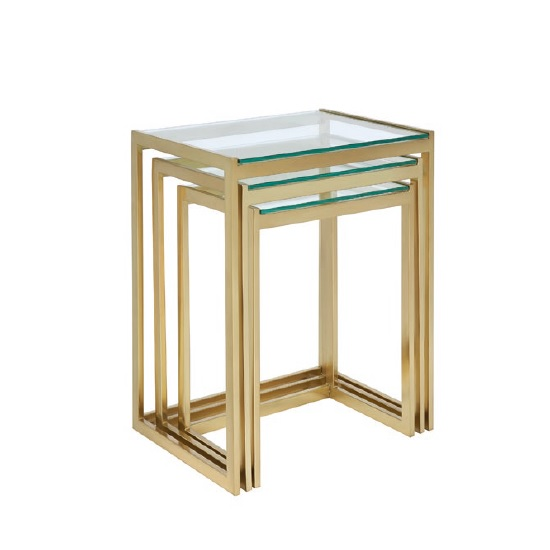 Quillon Glass Nest Of 3 Tables In Clear And Gold Finish Frame