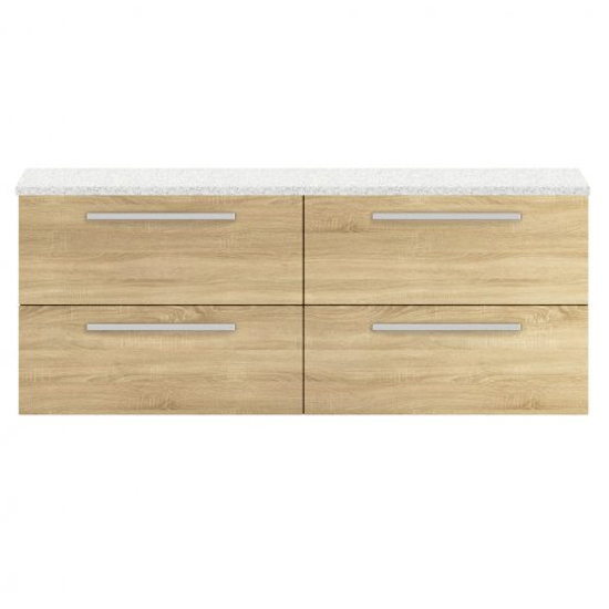 View Quincy 144cm wall vanity with white worktop in natural oak