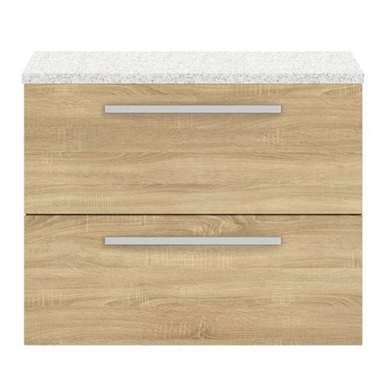 View Quincy 72cm wall vanity with white worktop in natural oak
