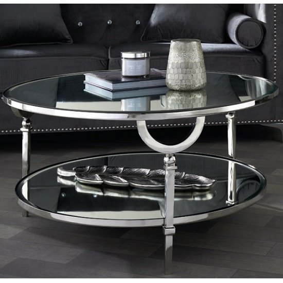 Quinn Mirrored Top Round Coffee Table With Nickel Finish Legs