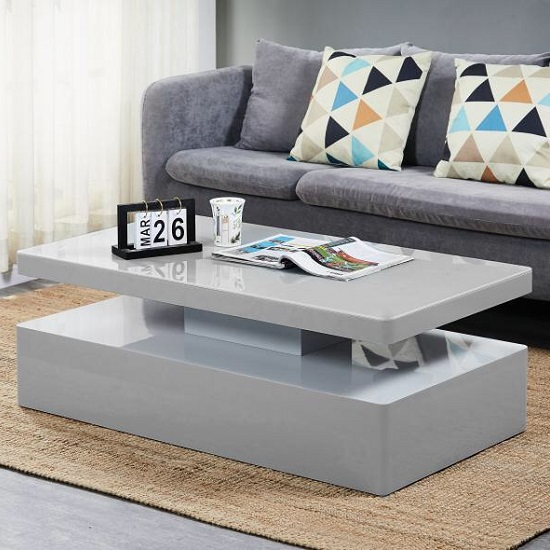 Quinton Glass Coffee Table In Grey High Gloss With LED_6