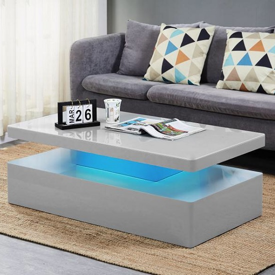 Quinton Gl Coffee Table In Grey High Gloss With Led