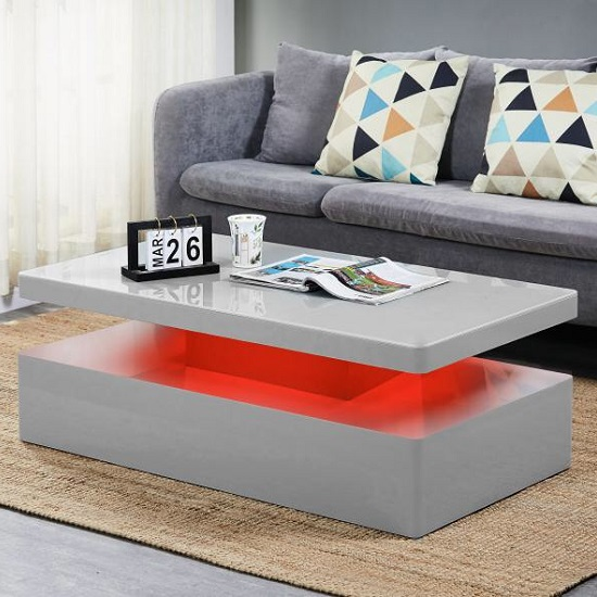 Quinton Glass Coffee Table In Grey High Gloss With LED_2