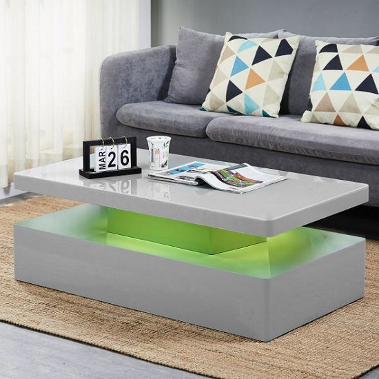 Quinton Glass Coffee Table In Grey High Gloss With LED_3