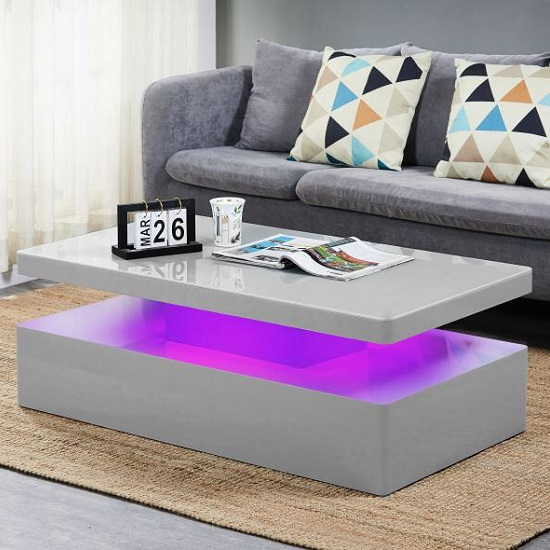 Quinton Glass Coffee Table In Grey High Gloss With LED_4