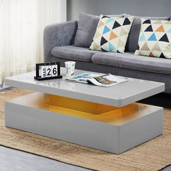 Quinton Glass Coffee Table In Grey High Gloss With LED_5