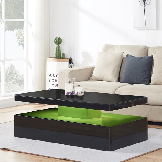 Quinton Glass Coffee Table In Black High Gloss With LED_3