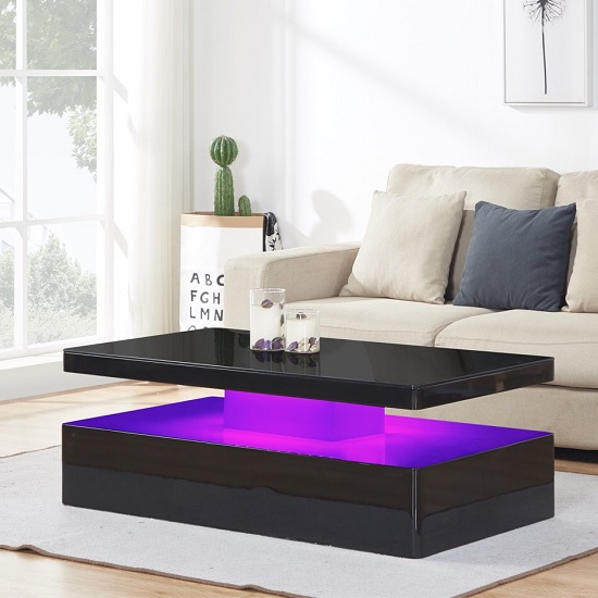 Quinton Glass Coffee Table In Black High Gloss With LED_4