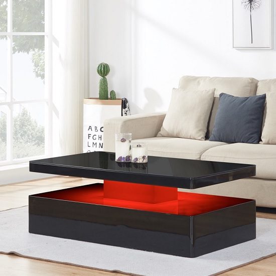 Quinton Glass Coffee Table In Black High Gloss With LED_5