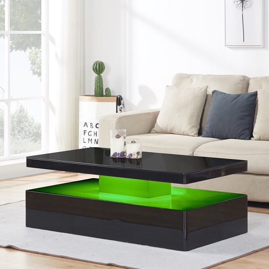 Quinton Glass Coffee Table In Black High Gloss With LED_6