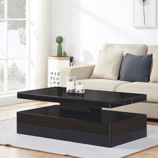 Quinton Glass Coffee Table In Black High Gloss With LED_7