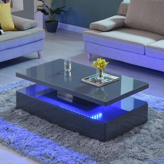 View Quinton glass coffee table in grey high gloss with led