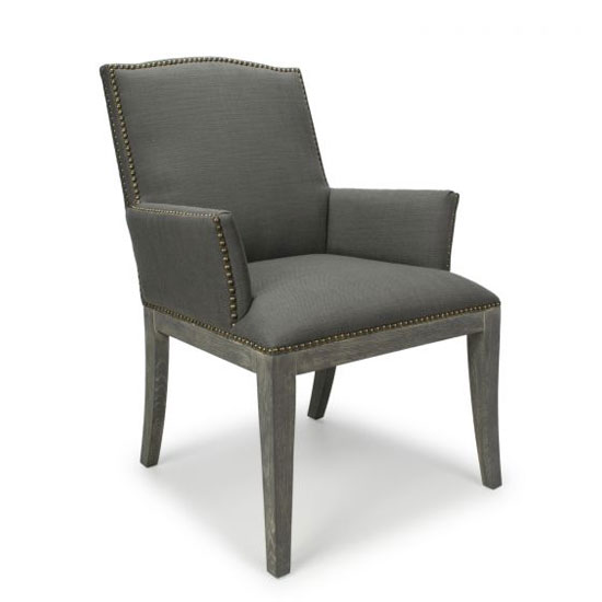 Quinton Linen Effect Square Stud Accent Chair In Antique Grey