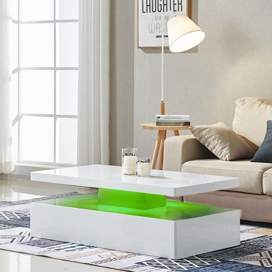 Quinton Modern Coffee Table In White High Gloss With LED_2