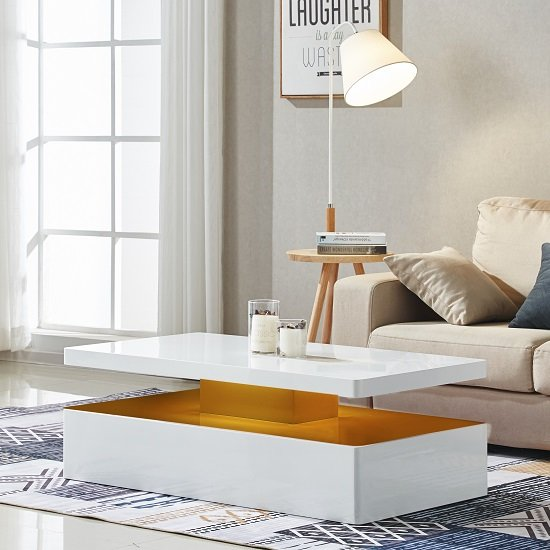 Quinton Modern Coffee Table In White High Gloss With LED_3