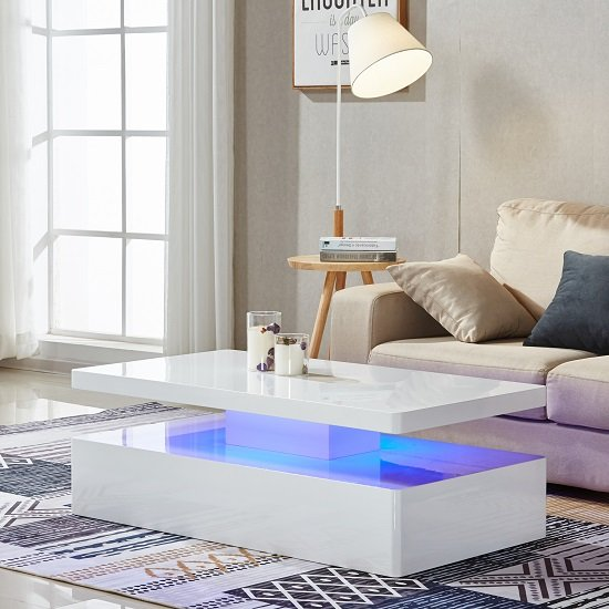 Quinton Modern Coffee Table In White High Gloss With LED_4