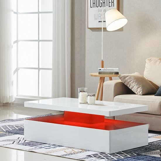 Modern Oval White High Gloss Glossy Lacquer Coffee Table: Quinton Modern Coffee Table In White High Gloss With LED