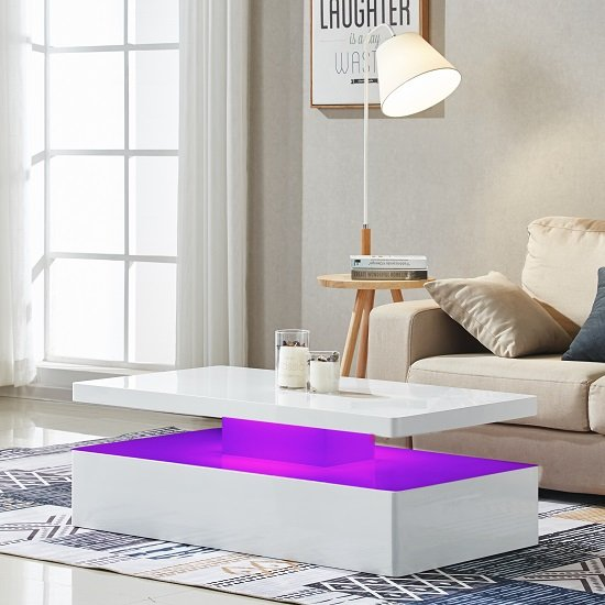 Quinton Modern Coffee Table In White High Gloss With LED_6