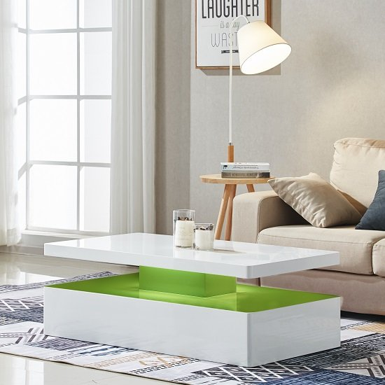 Quinton Modern Coffee Table In White High Gloss With LED_7