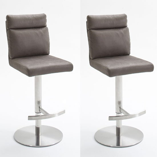 Rabea Brown Fabric Bar Stool In Pair With Stainless Steel Base