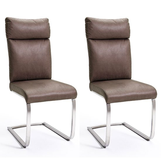 Rabea Brown Fabric Dining Chair In A Pair