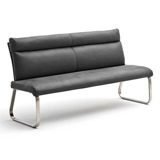Rabea Fabric Large Dining Bench In Grey With Steel Frame_1