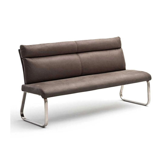 Rabea Fabric Small Dining Bench In Brown With Steel Frame