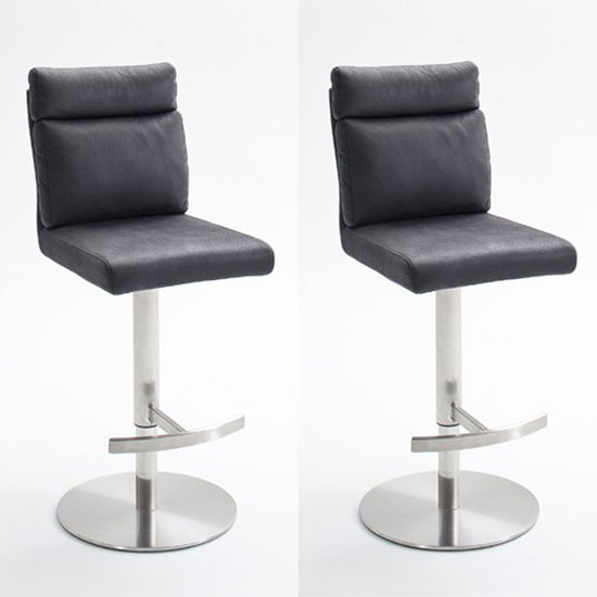 Rabea Grey Fabric Bar Stool In Pair With Stainless Steel Base